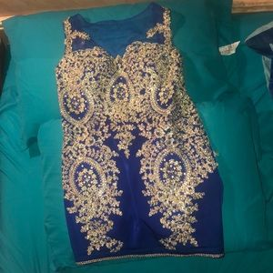Royal blue and gold dress